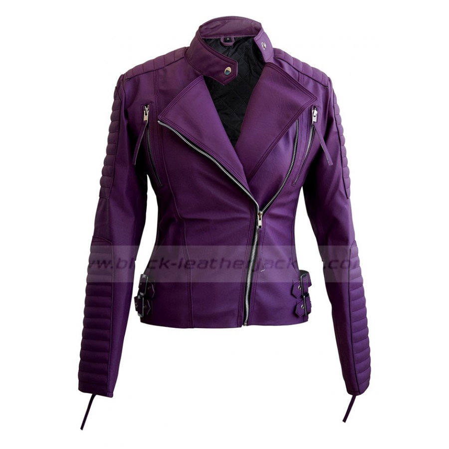 Quilted Faux Leather Jacket | Womens Biker Purple Jacket
