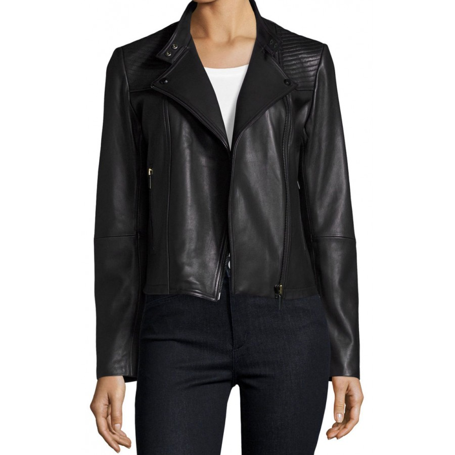 Womens Black Quilted Leather Moto Jacket