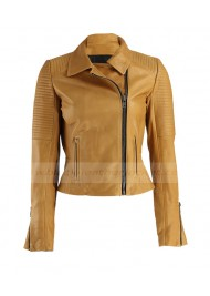Womens Mustard Quilted Leather Biker Jacket