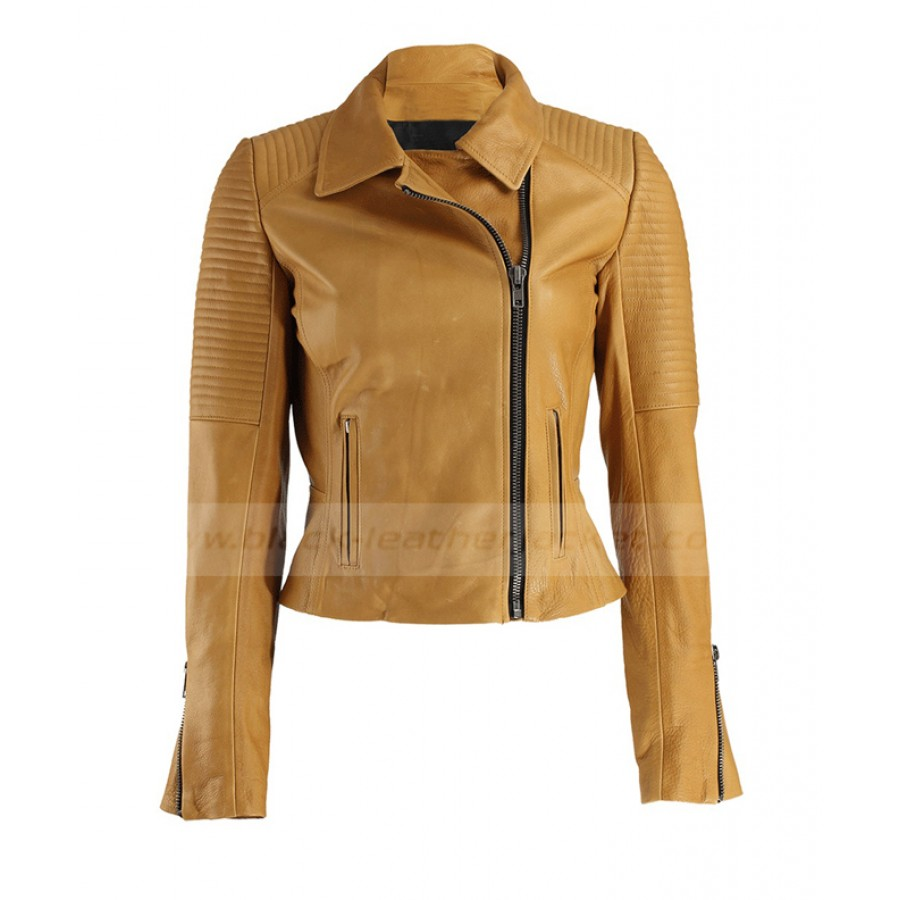 Womens Mustard Jacket | Quilted Leather Biker Jacket