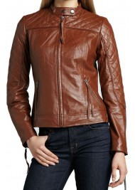 Women's Motorcycle Quilted Shoulder and Sleeve Brown Leather Jacket