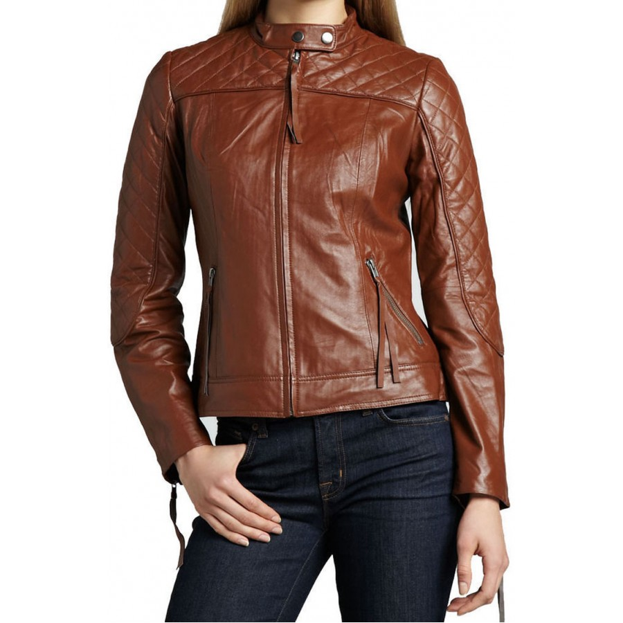 Womens Motorcycle Quilted Shoulder And Sleeve Brown Leather Jacket