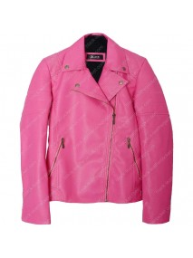 Womens Pink Faux Leather Biker Quilted Jacket