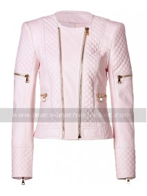 Womens Quilted Pink Leather Motorcycle Jacket