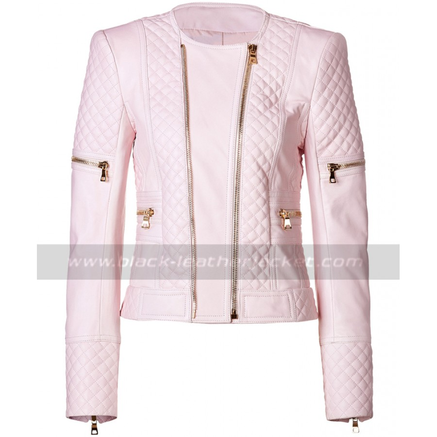 d17b0436f Womens Quilted Pink Leather Motorcycle Jacket