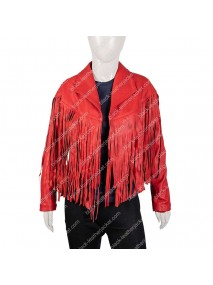 Womens Red Motorcycle Fringe Leather Jacket