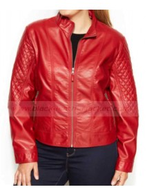 Womens Red Quilted Faux Leather Moto Jacket