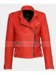 Womens Red Quilted Leather Moto Jacket