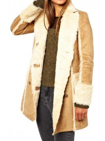 Women's Shearling Camel Brown Leather Jacket