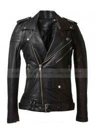 Womens Sheepskin Black Leather Motorcycle Jacket