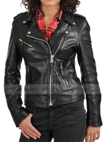 Soft Motorcycle Zipper Women's Black Leather Jacket