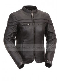 Womens Sporty Scooter Black Leather Jacket