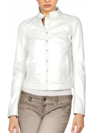Women's Stand Up Collar Designer White Leather Jacket