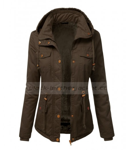 Womens Studded Cotton Military Anorak Drawstring Jacket
