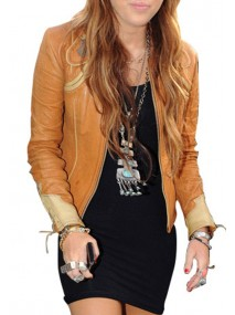 Miley Cyrus Tan Leather Jacket