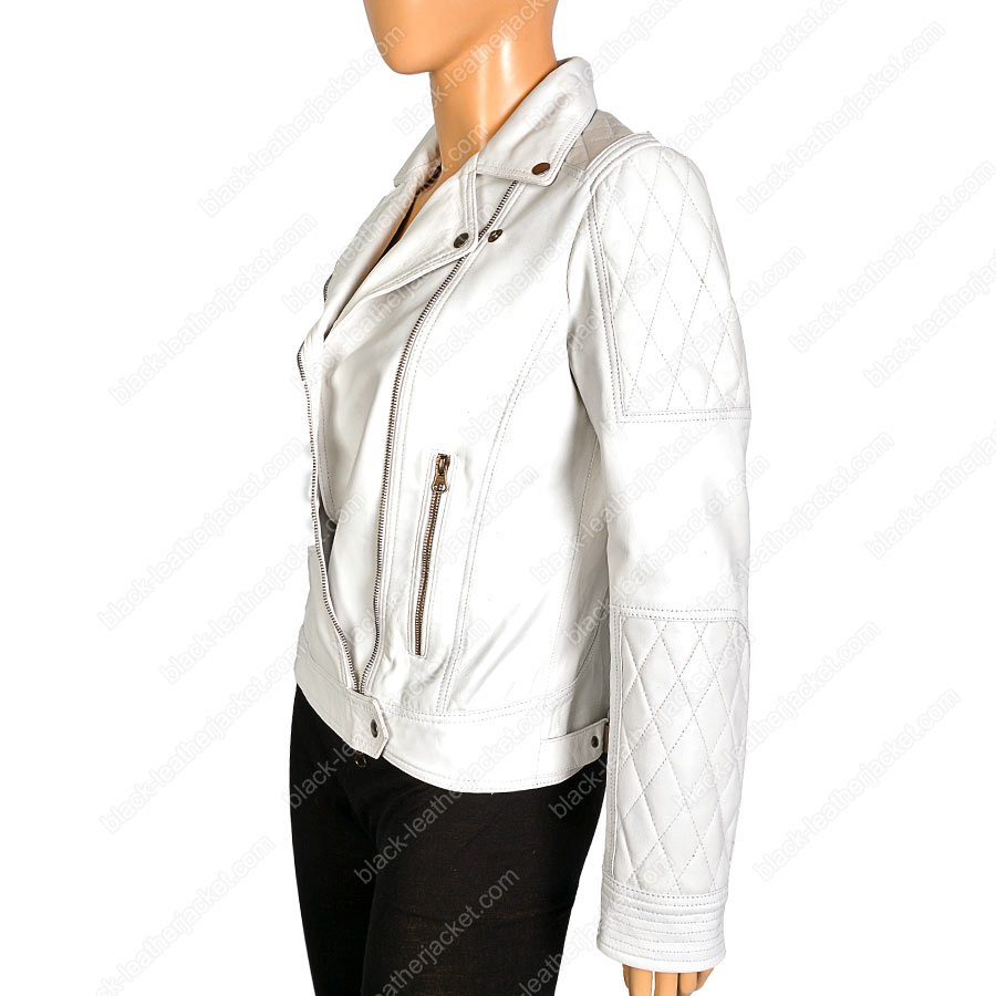Womens White Leather Motorcycle Jacket Ladies Biker Quilted Jacket