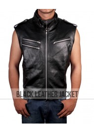 WWE Dave Bautista Black Leather Vest