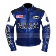 Yamaha Racing Blue Leather Motorcycle Jacket