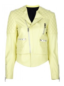 Kristen Stewart Yellow Quilted Leather Biker Jacket