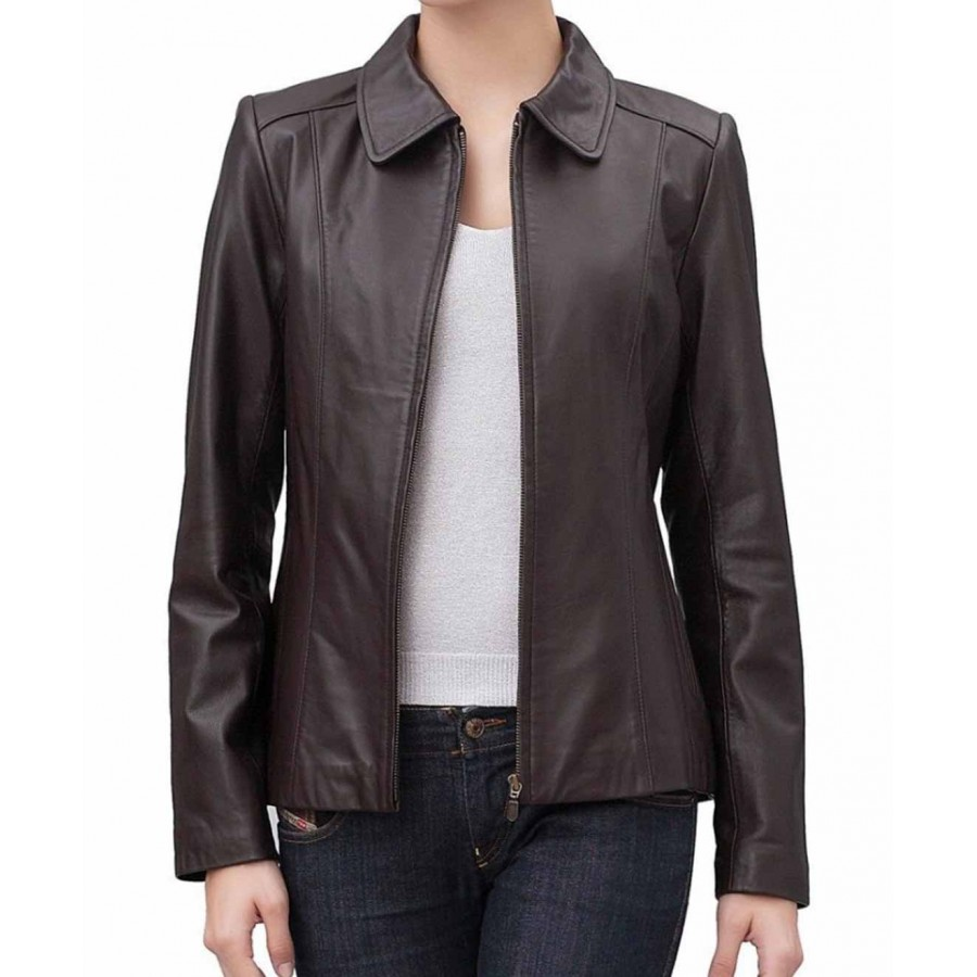 Women Brown Leather Jacket | Zip Front Jacket