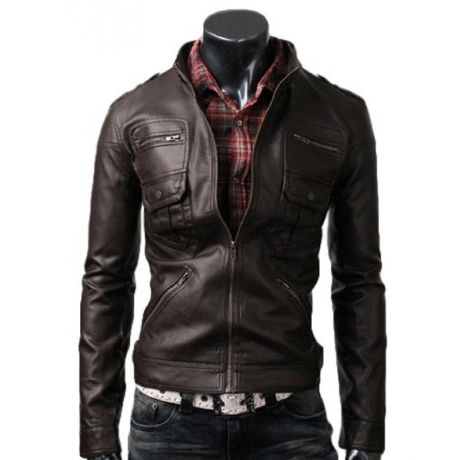 Zip Pocket Dark Brown Jacket | Slim Fitted Leather Jacket Men