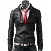 Zip Pocket Mens Slim Fit Black Jacket