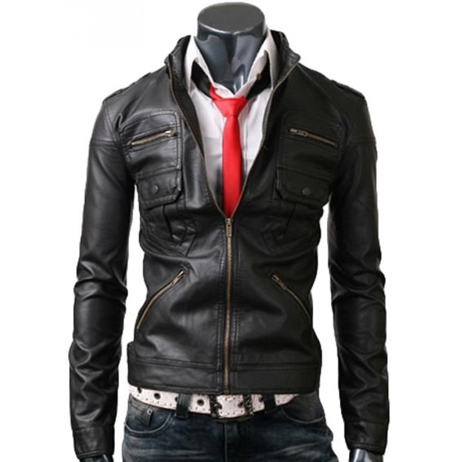 Zip Pocket Mens Jacket | Slim Fit Black Leather Jacket