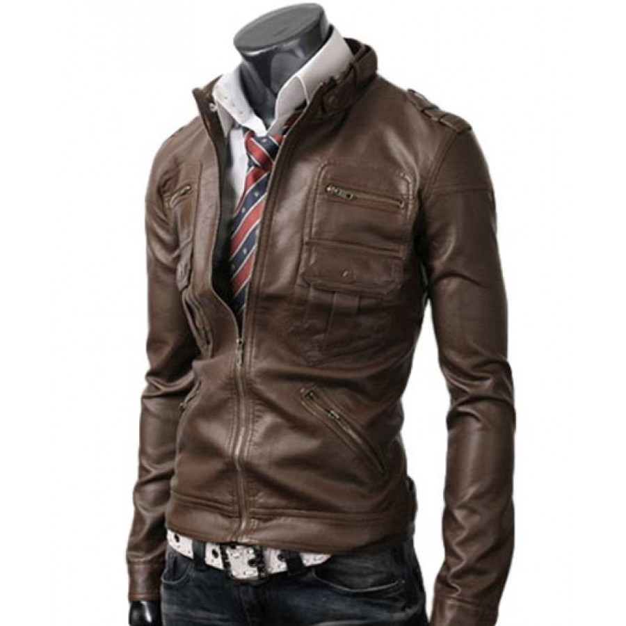 Light Leather Jacket Men Top Collection Of Brown Leather Jackets ...