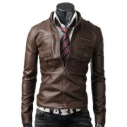 Zip Pocket Slim Fitted Mens Light Brown Leather Jacket
