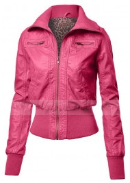 Zip Up Bomber Pink Faux Leather Jacket Women