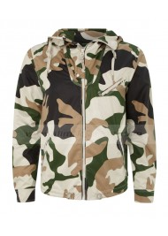 Zip Up Green Khaki Camouflage Hooded Jacket
