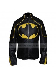 Batman Yellow Stripe Black Leather Jacket