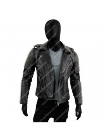 Black Spikes Mens Studded Jacket