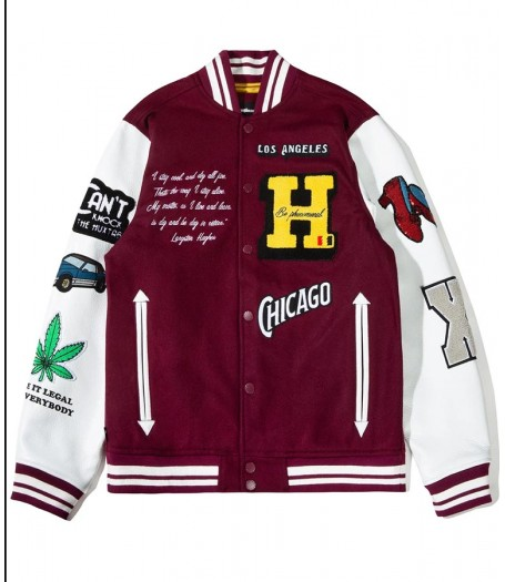 BlackAF Kenya Barris Bur­gundy Letterman Jacket