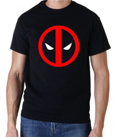 Red Deadpool Logo Black T-Shirt