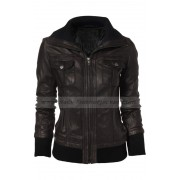 Double Collar Dark Brown Leather Bomber Jacket Women
