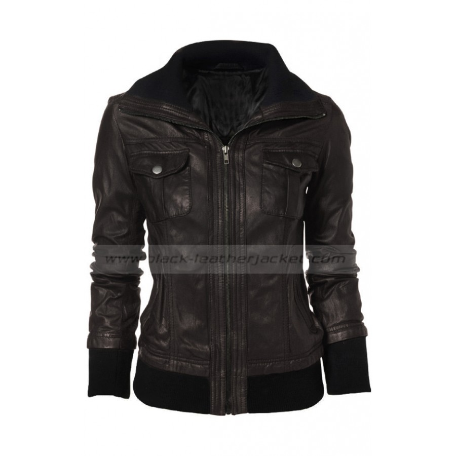 Brown Double Collar Jacket | Leather Bomber Jacket Women