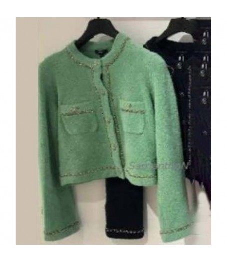 Emily in Paris Lily Collins Green Sequin Cardigan