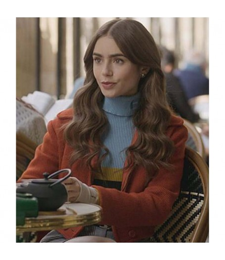Lilly Collins Emily in Paris Colorblock Sweater