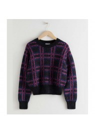 Lily Collins Emily in Paris Checked Wool Sweater