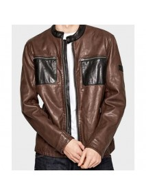 Mens Black and Brown Cafe Racer Jacket