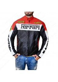 Red and Black Motorcycle Ferrari Leather Jacket