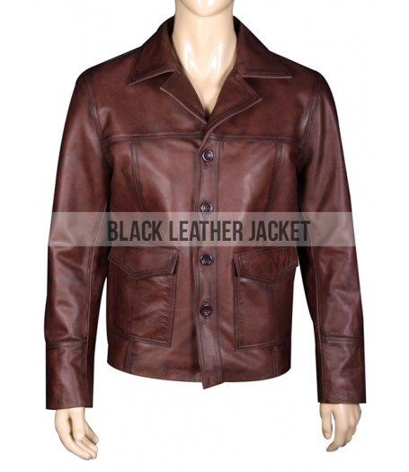 Fight Club 70s Vintage Style Hitman Leather Jacket