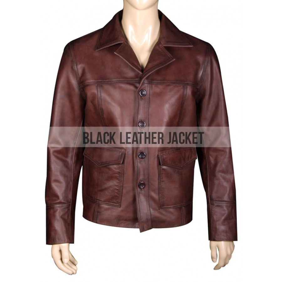 Fight Club 70s Vintage Style Hitman Leather Jacket Zoom