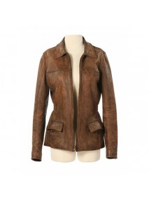 Katniss Everdeen Hunger Games Brown Leather Jacket