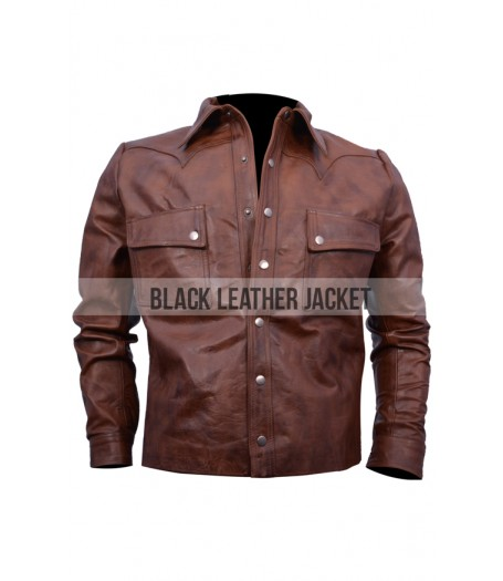Jason Aldean Distressed Brown Leather Jacket