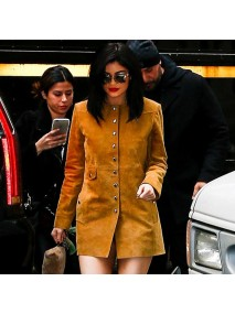 Kylie Jenner Suede Leather Coat