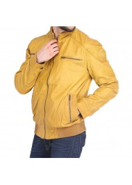 Men's Mustard Yellow Bomber Leather Jacket