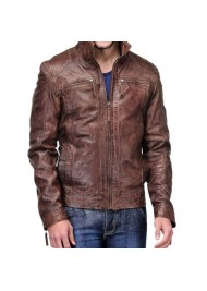Men's Biker Coffee Brown Distressed Leather Jacket