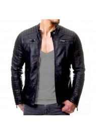 Mens Vintage Cafe Racer Slim Fit Biker Jacket